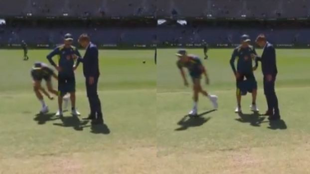AUS v IND 2018-19: WATCH – Nathan Lyon continues with interview despite Mitchell Starc pulling his shorts down