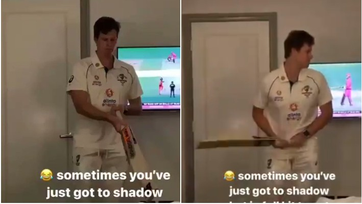 AUS v IND 2020-21: WATCH - Steve Smith shadow bats in hotel room with full kit on