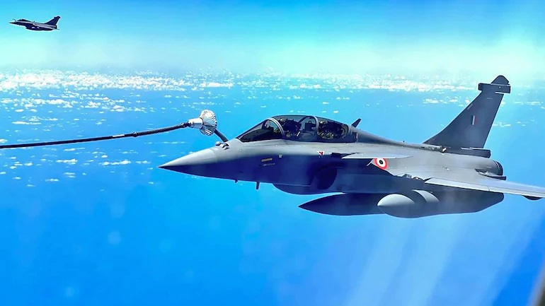 The Rafale Jet being refueled mid air during its journey from France to India