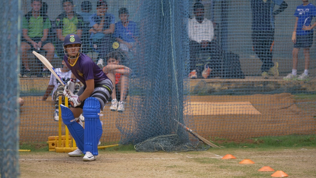 Shubhman Gill in the nets at the KKR Academy