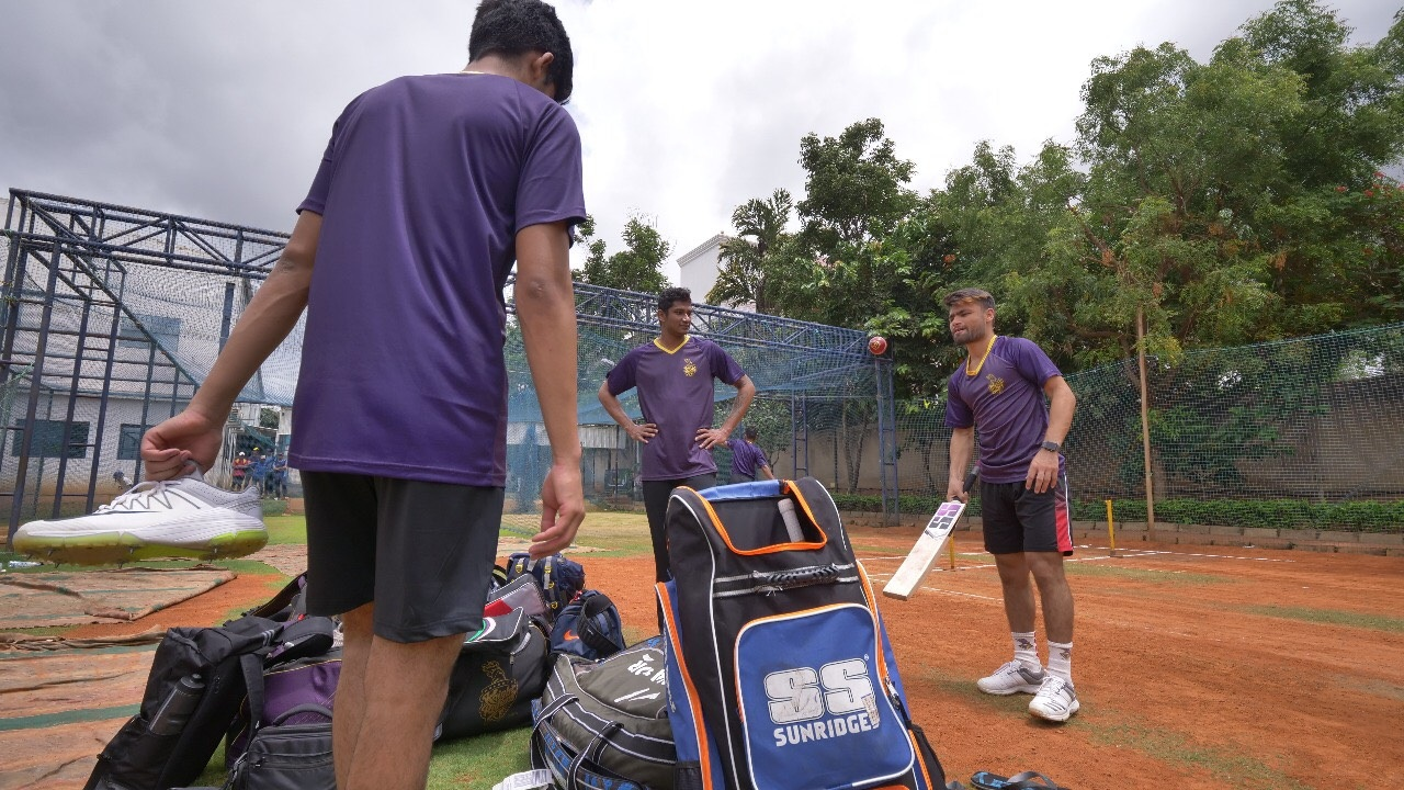 Rinku Singh and other players chatting during their time at the KKR Academy