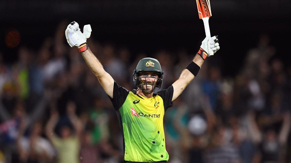 Glenn Maxwell celebrating his second T20I ton | AFP