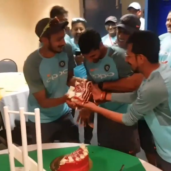 Watch: Bhuvneshwar Kumar gets a cake facial from teammates