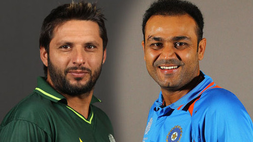 Virender Sehwag and Shahid Afridi engage in a fascinating conversation