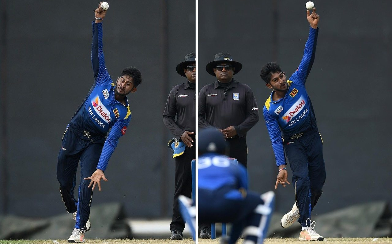 Kamindu Mendis bowling with both hands