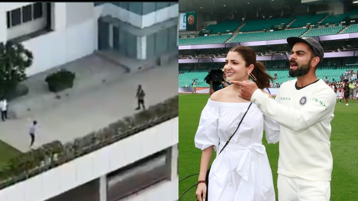 WATCH: Virat Kohli tackles a bouncer from Anushka Sharma as they play cricket