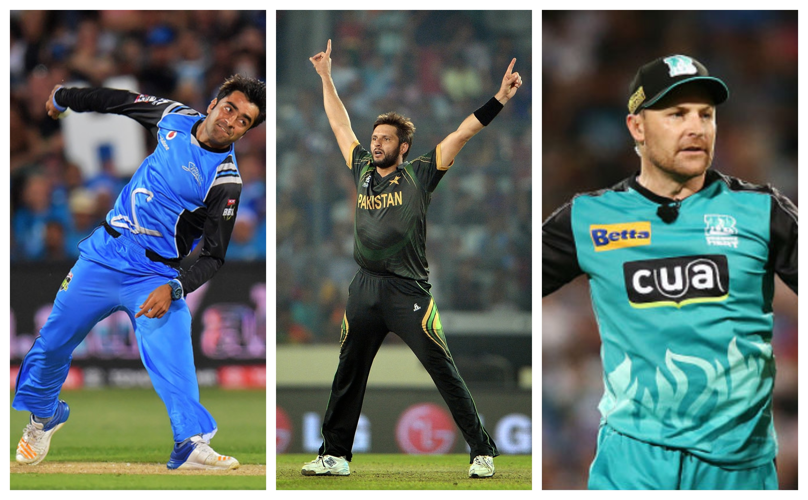 Rashid Khan, Shahid Afridi and Brendon McCullum, three outstanding T20 players.