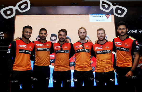 Rashid Khan (third from left) and Manish Pandey (rightmost) at an event for SRH | Getty Images