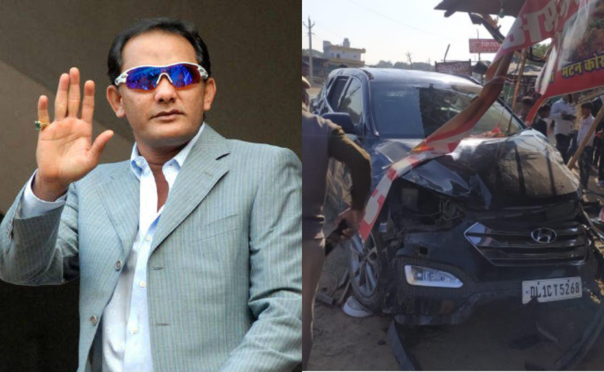 Azharuddin's car met with an accident in Soorwal region of Rajasthan