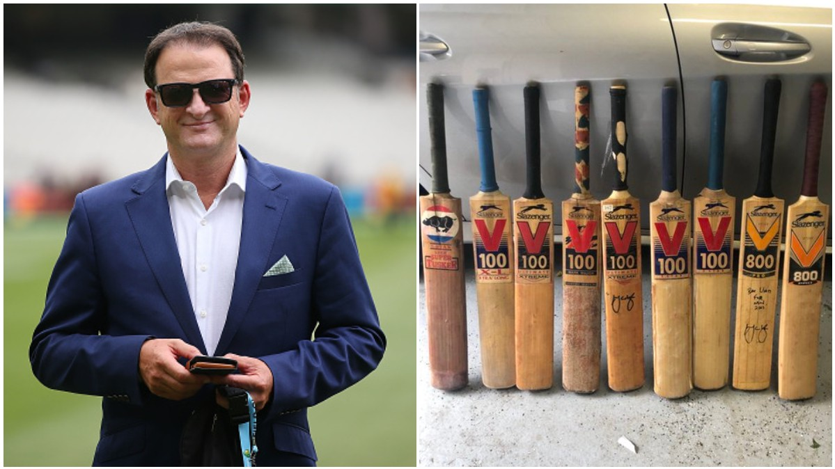 Mark Waugh displays his collection of bats; calls it 'arsenal of weapons'