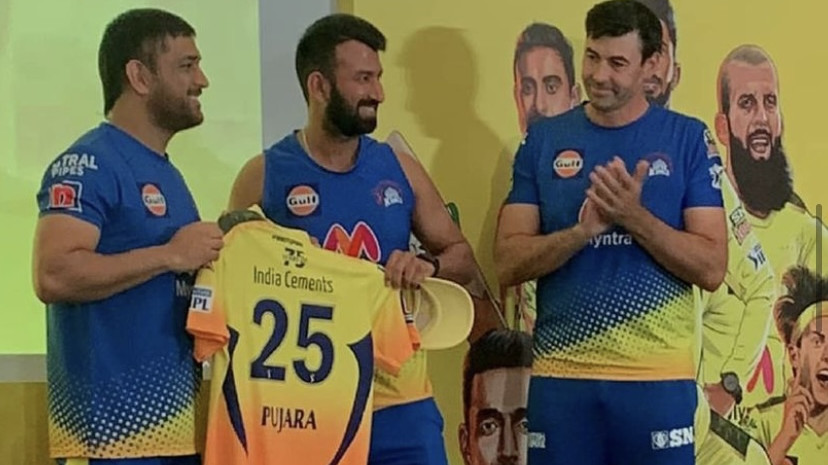 IPL 2021: MS Dhoni welcomes new recruits Pujara, Ali, Gowtham and others by presenting them CSK jerseys