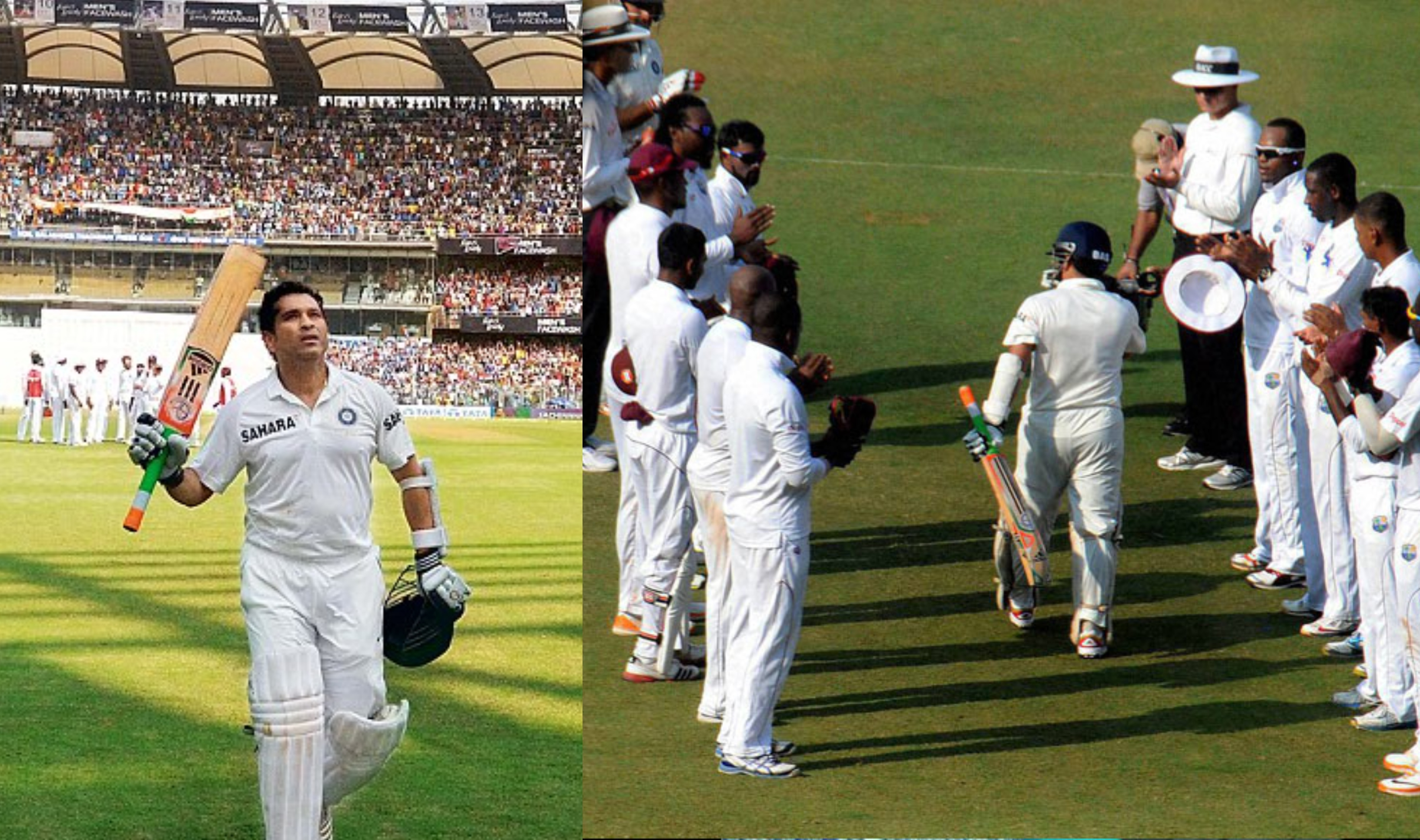 West Indies players paid respect to Tendulkar on his final 200th Test in Mumbai | AFP