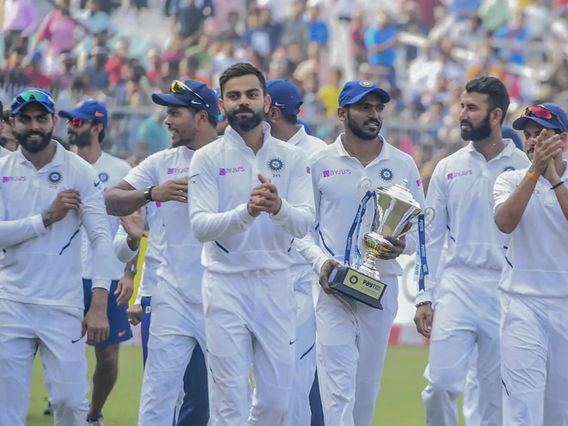 KS Bharat (R) holds the winner's trophy after India beat Bangladesh 2-0 in Test series at home in 2019 | Twitter