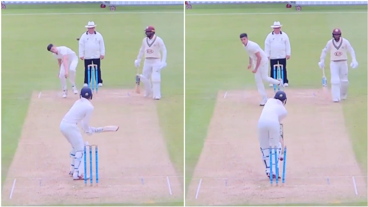 WATCH: Arjun Tendulkar produces brute of a delivery to castle Surrey batsman Nathan Tilley