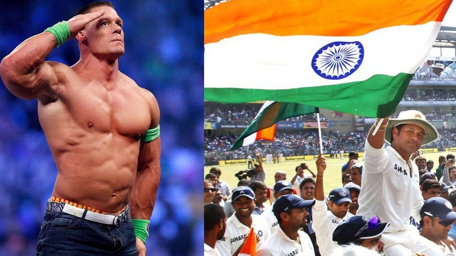A picture from Sachin Tendulkar's farewell Test on John Cena's Instagram account surprises fans