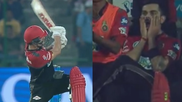 IPL 2018: WATCH- AB De Villiers' 92 metres six off Trent Boult leaves Virat Kohli gobsmacked