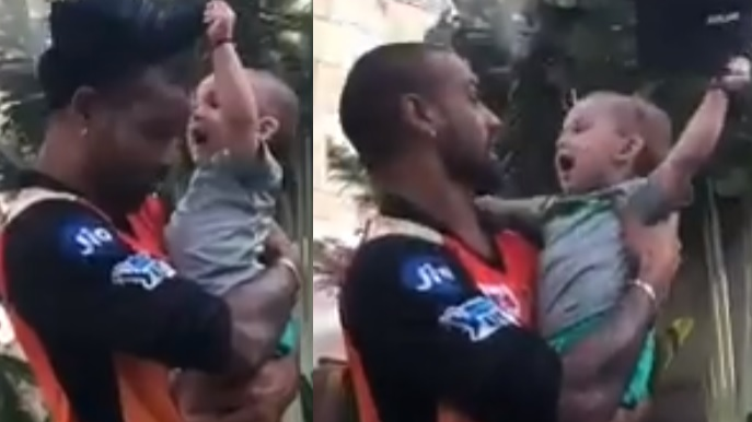 WATCH: Shikhar Dhawan plays with Bipul Sharma's son