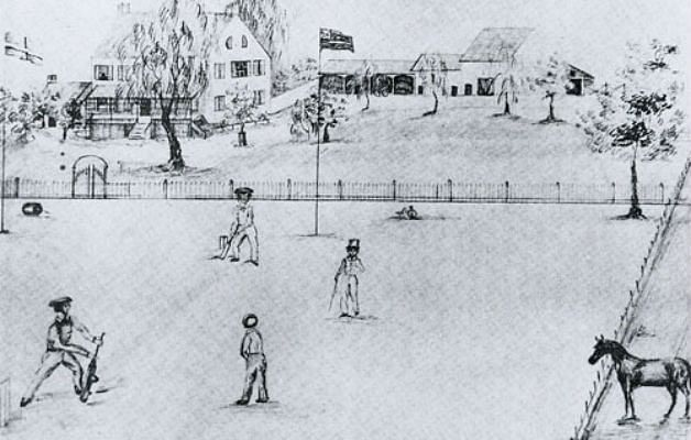 A pictorial representation of the 1844 international cricket match between Canada and USA