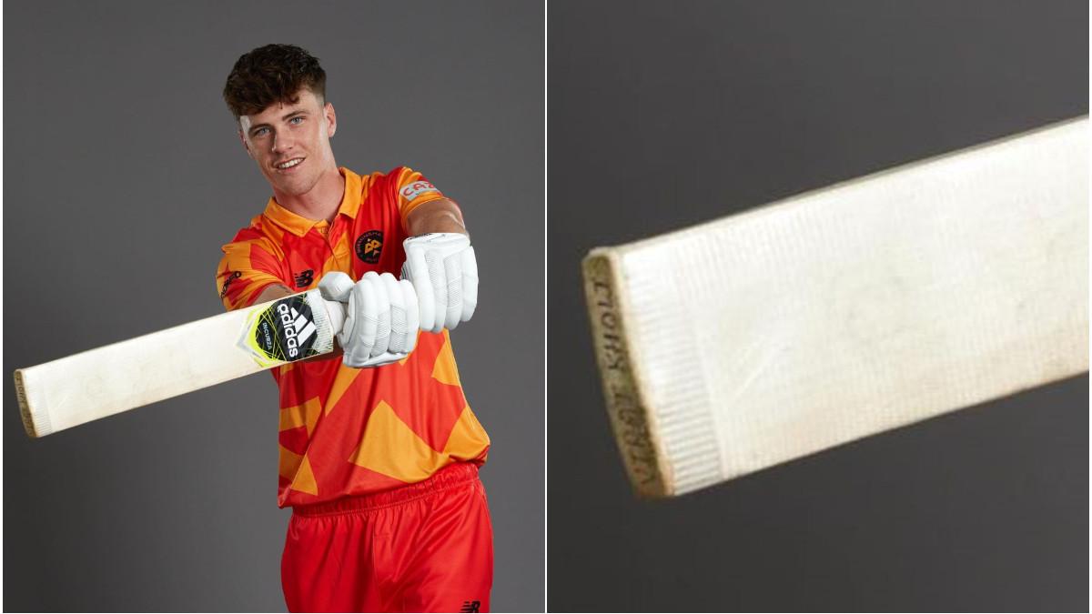 The Hundred 2021: New Zealand's Finn Allen poses with bat carrying Virat Kohli's name on it