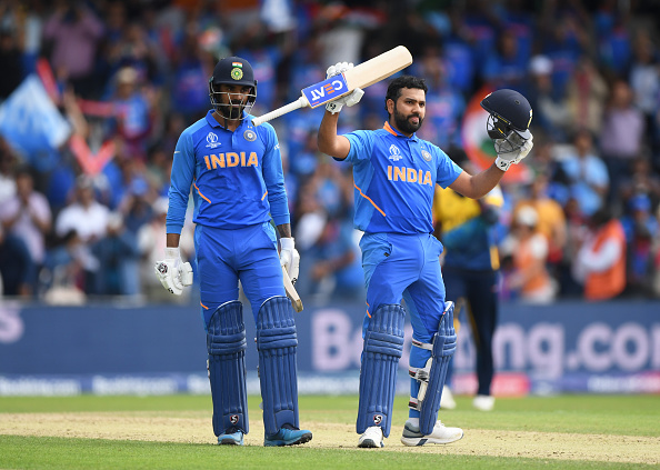 Rohit Sharma made his 6th WC century and equaled Sachin's record; also added 189 runs with Rahul   Getty