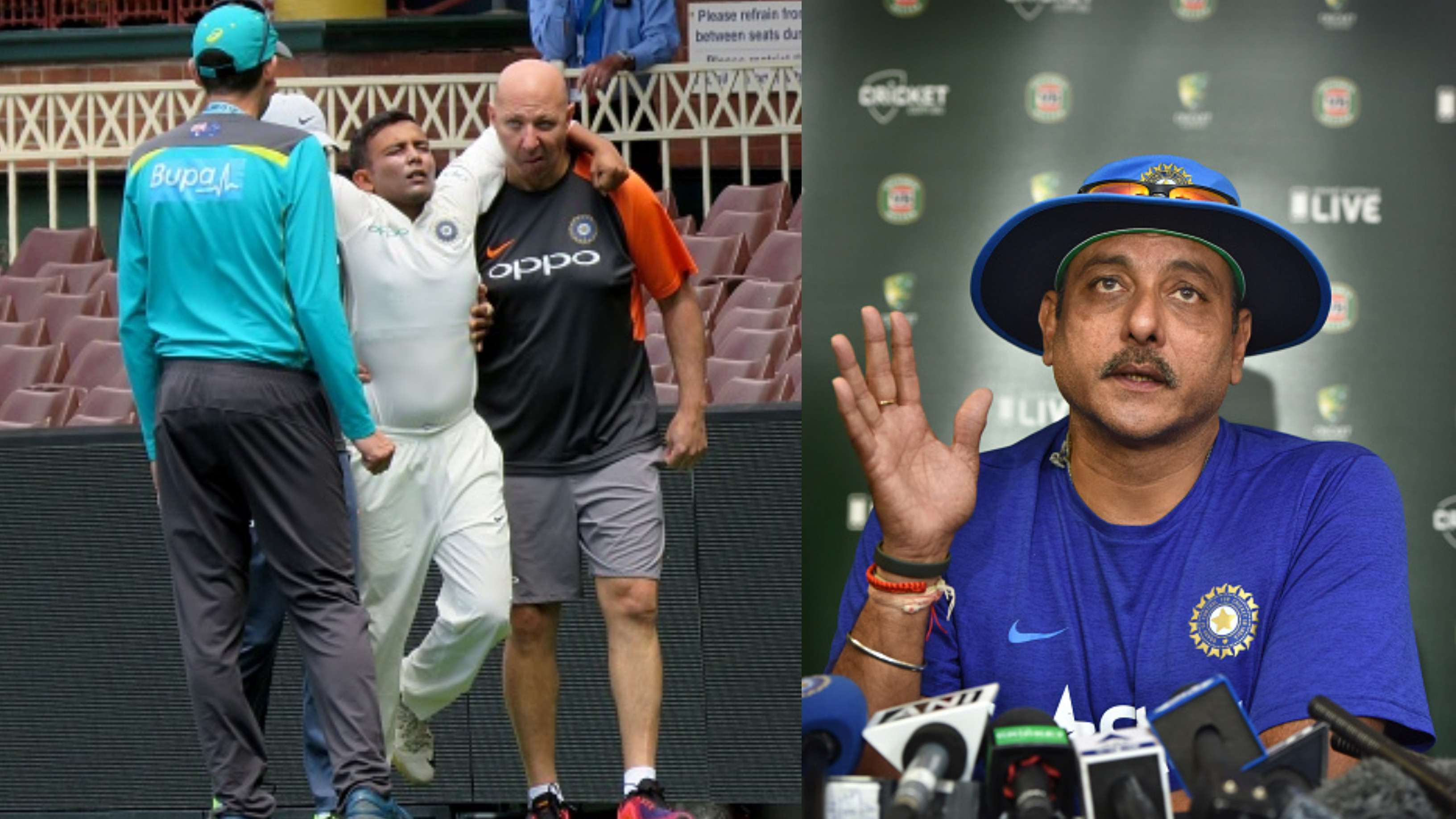 AUS v IND 2018-19: Ravi Shastri provides a fitness update on Prithvi Shaw