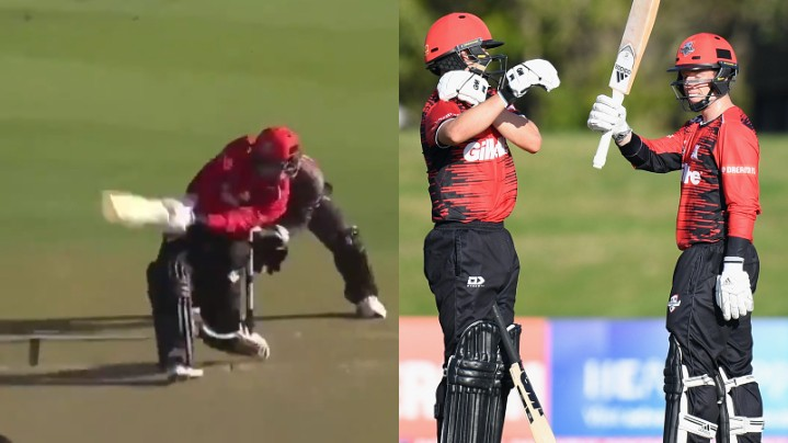 WATCH - Leo Carter smashes six sixes in an over during a Super Smash match