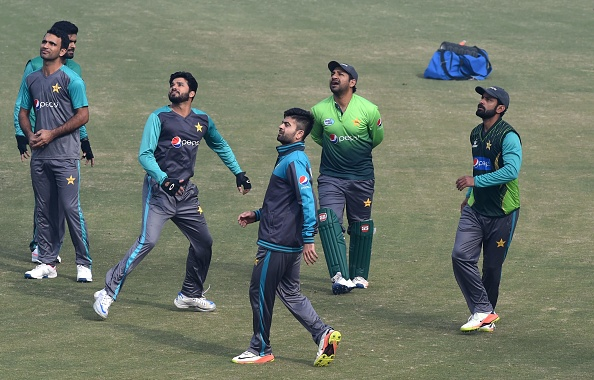 Usman Khan Shinwari with Pakistan team during net session | Getty Images