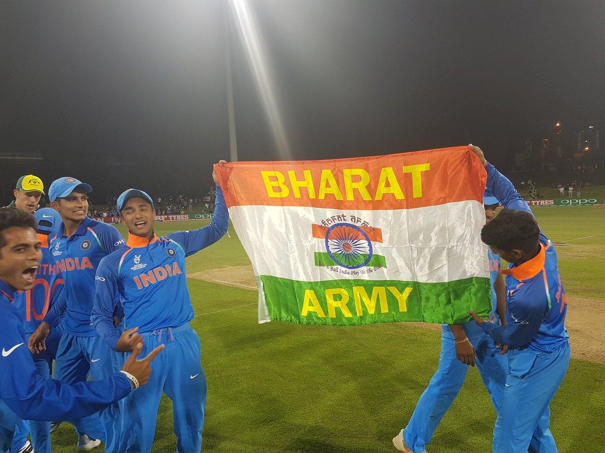India U-19 team celebrating their World Cup triumph   Twitter