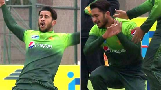 WATCH: Twitter couldn't stop laughing after Hasan Ali hurts himself doing his 'bomb explosion' celebration