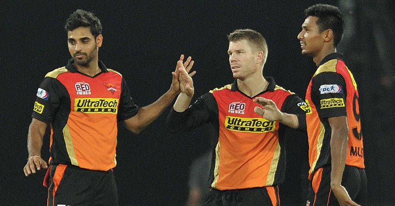 David Warner with Bhuvneshwar Kumar and Mustafizur | GETTY