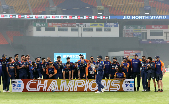 Team India celebrating the T20I series win against England | Getty