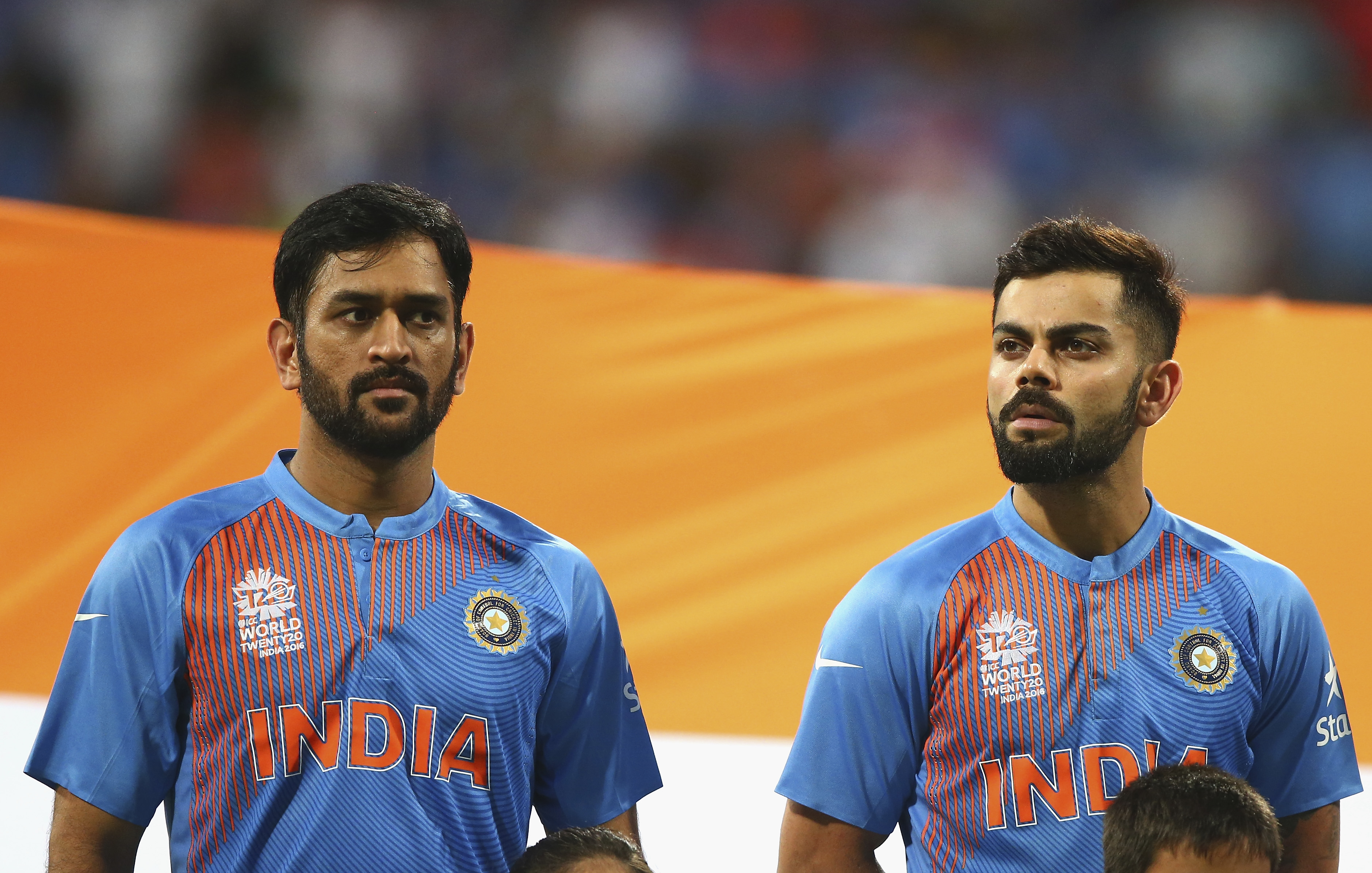 Kohli and Dhoni sing the national anthem before the match | Getty