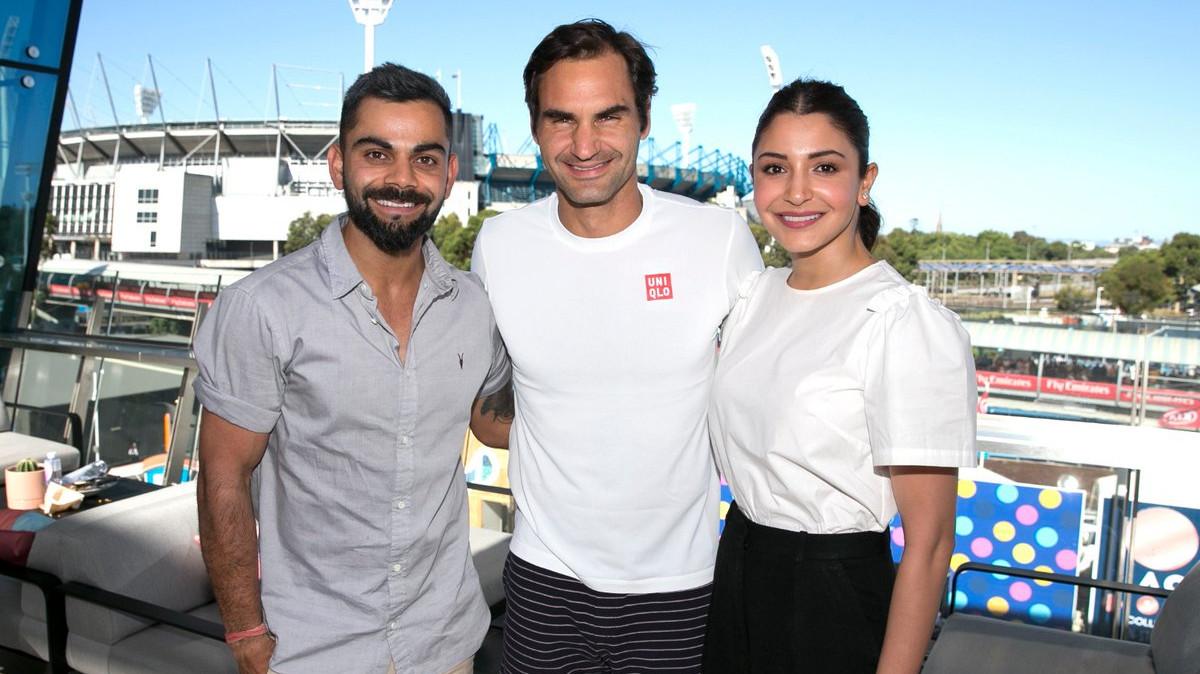 Virat Kohli and Anushka Sharma meet Tennis legend Roger Federer in Australian Open