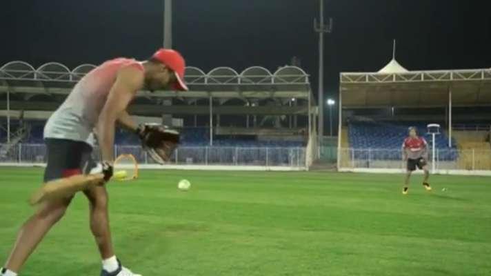 Mayank Agarwal seen coaching Jonty Rhodes during a training session   Screengrab