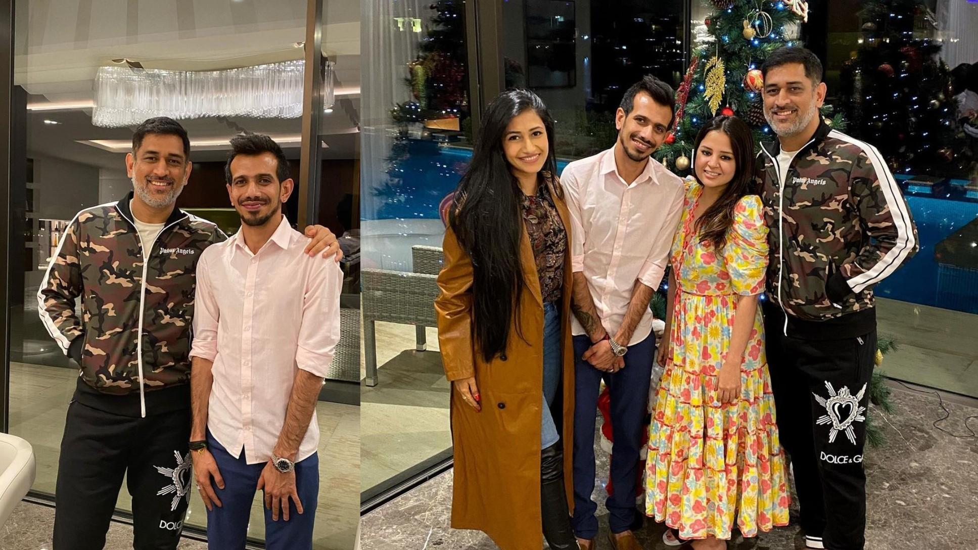 PICS- Yuzvendra Chahal and Dhanashree meet MS Dhoni and Sakshi in Dubai