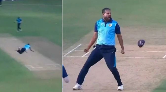 Yusuf Pathan's celebrates after taking the catch | Screengrab