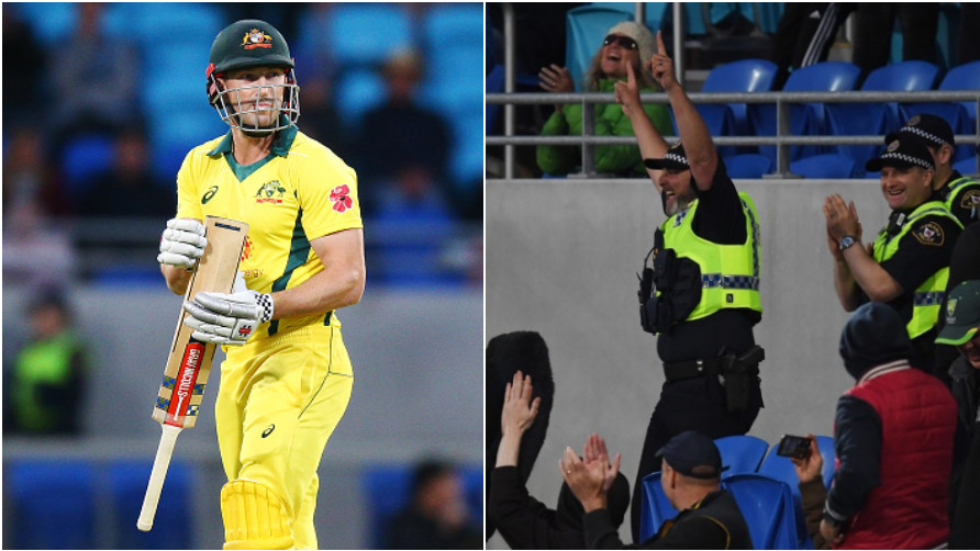 AUS v SA 2018: WATCH- Police officer takes an outstanding catch in the stands before falling off