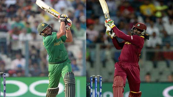 Shahid Afridi challenges Chris Gayle for a one-stump-match after the latter equaled his record for most international sixes