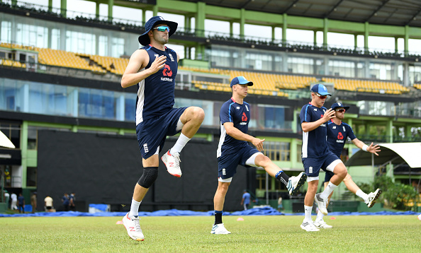 Mark Wood warms up with teammates during net session at Rangiri Dambulla International Stadium | Getty Images