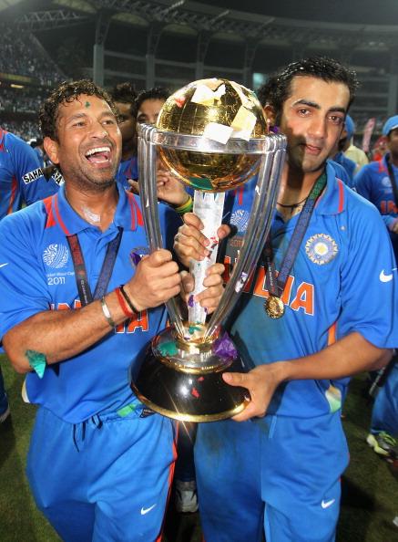 Gautam Gambhir and Sachin Tendulkar with the 2011 World Cup trophy | Getty