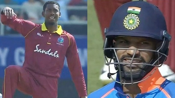 IND v WI 2018: WATCH – Shikhar Dhawan gets a dose of his own medicine as Keemo Paul gives him a thigh five send-off