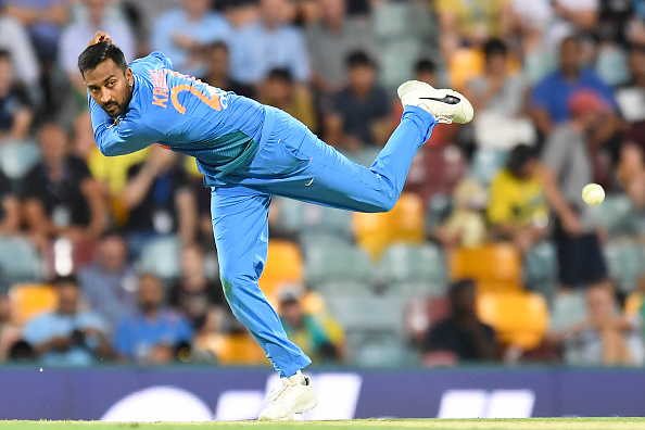 Krunal Pandya was taken to the cleaners in the first T20I against Australia | Getty