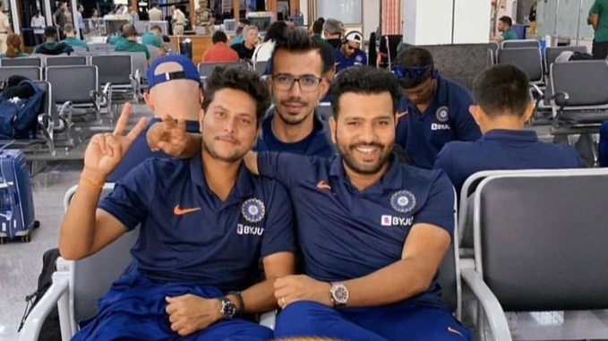 Yuzvendra Chahal funnily photoshops himself between Kuldeep Yadav and Rohit Sharma