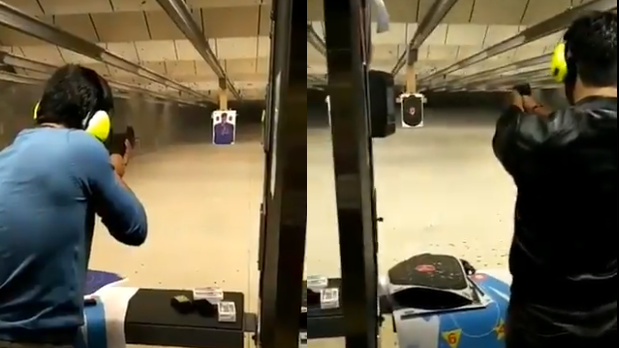 WATCH: RP Singh and MS Dhoni try their hands at a shooting range in USA