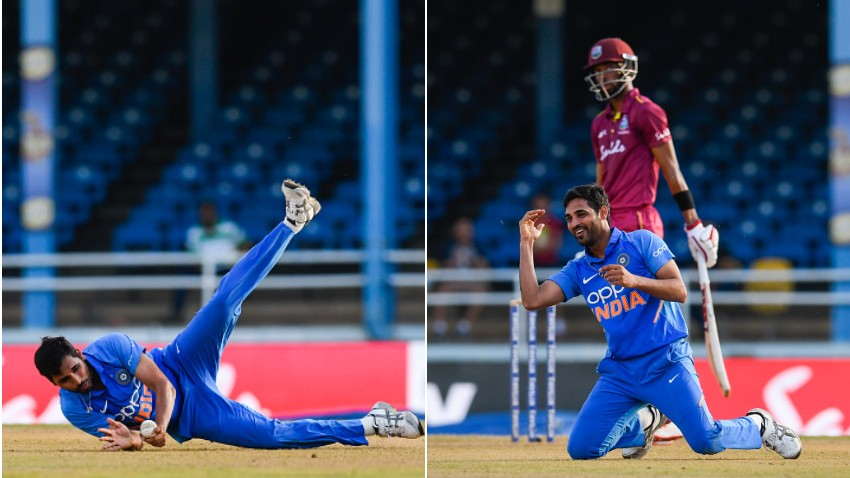 WI v IND 2019: WATCH - Bhuvneshwar Kumar takes a stunning catch off his own bowling