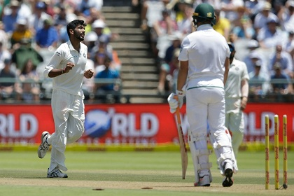 Bumrah dismissed AB de Villiers clean bowled for his first Test wicket | Getty