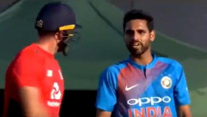 Bhuvneshwar Kumar indulged in a verbal dual with David Willey | Screengrab