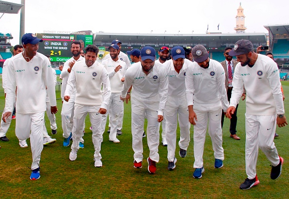 Indian Cricket Team celebrates their historic Test win in Australia | Getty Images