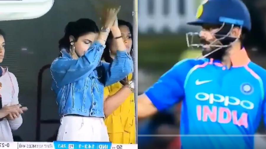 NZ v IND 2019: WATCH- Anushka Sharma ecstatic after Virat Kohli's 49th ODI fifty in second match