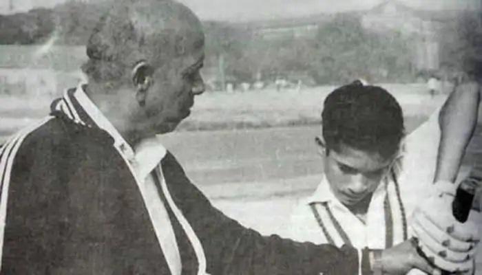A young Sachin Tendulkar with his coach Ramakant Achrekar